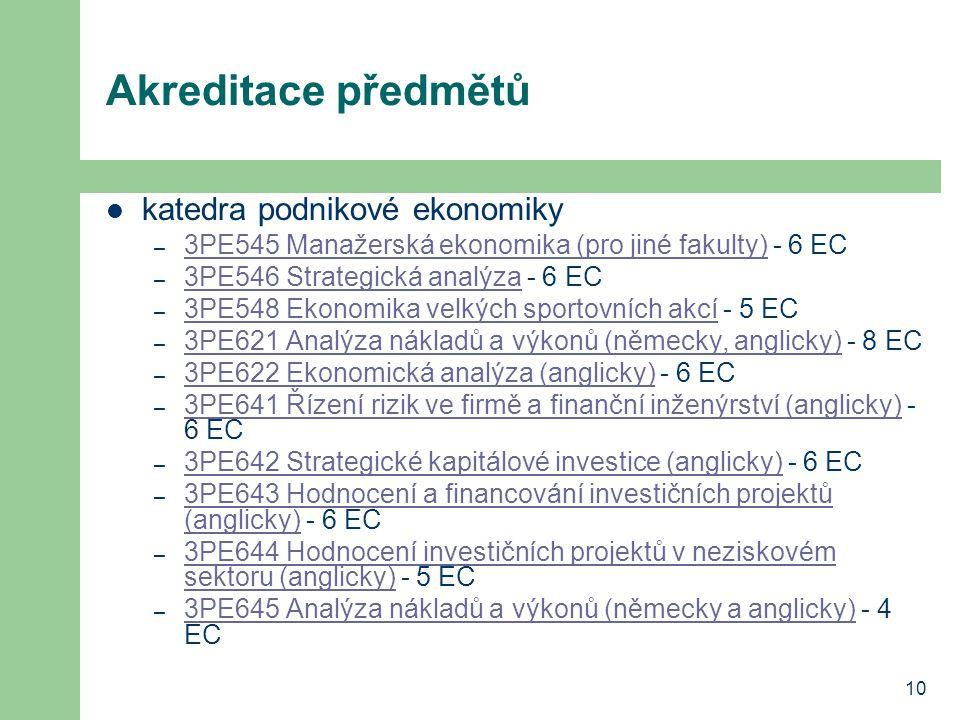 10 Akreditace předmětů katedra podnikové ekonomiky – 3PE545 Manažerská ekonomika (pro jiné fakulty) - 6 EC 3PE545 Manažerská ekonomika (pro jiné fakul