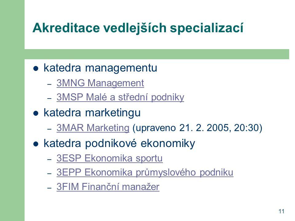 11 Akreditace vedlejších specializací katedra managementu – 3MNG Management 3MNG Management – 3MSP Malé a střední podniky 3MSP Malé a střední podniky katedra marketingu – 3MAR Marketing (upraveno 21.