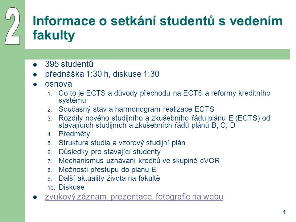 4 Informace o setkání studentů s vedením fakulty 395 studentů přednáška 1:30 h, diskuse 1:30 osnova 1. Co to je ECTS a důvody přechodu na ECTS a refor