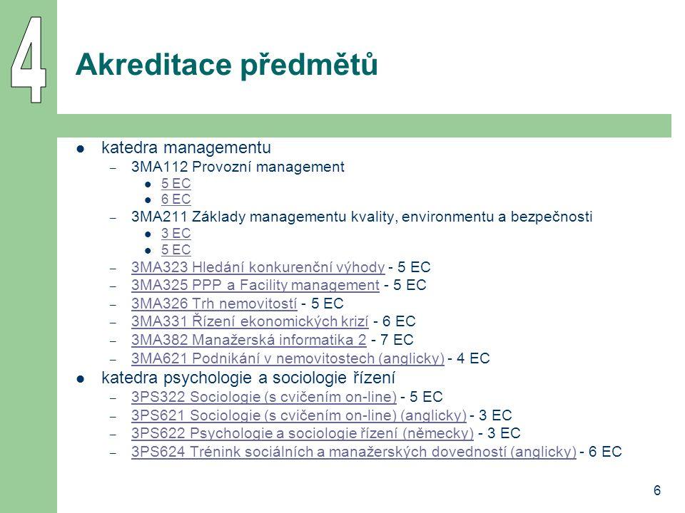 6 Akreditace předmětů katedra managementu – 3MA112 Provozní management 5 EC 6 EC – 3MA211 Základy managementu kvality, environmentu a bezpečnosti 3 EC