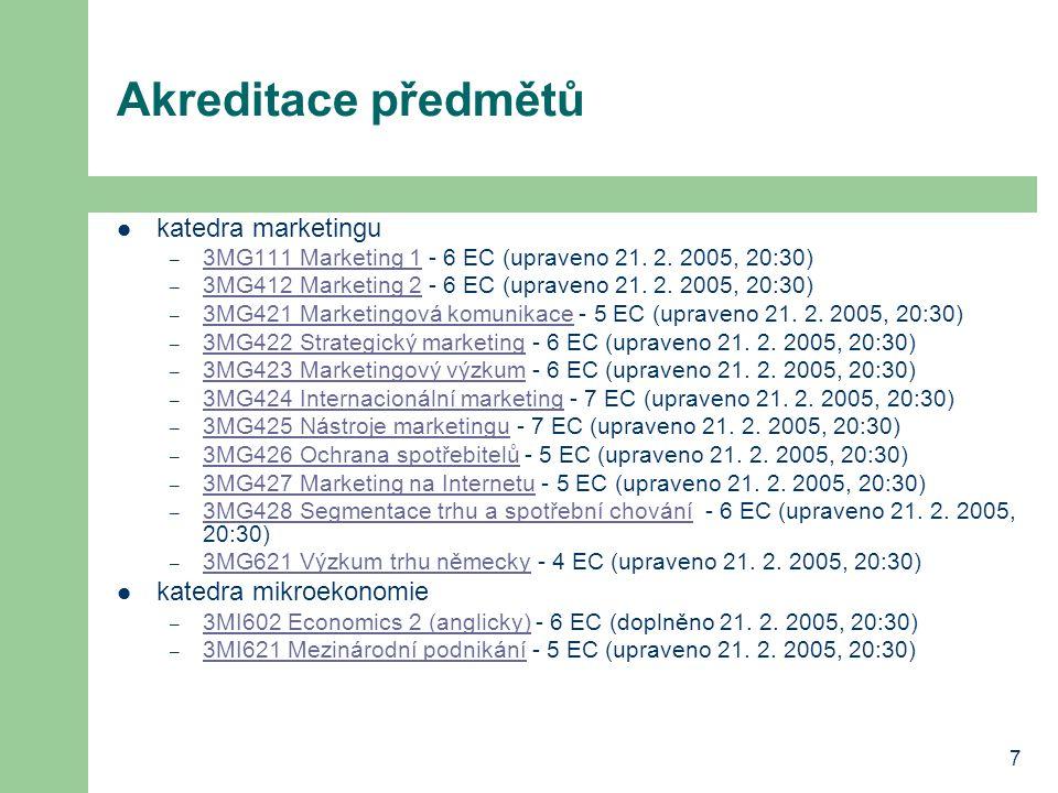 7 Akreditace předmětů katedra marketingu – 3MG111 Marketing 1 - 6 EC (upraveno 21. 2. 2005, 20:30) 3MG111 Marketing 1 – 3MG412 Marketing 2 - 6 EC (upr