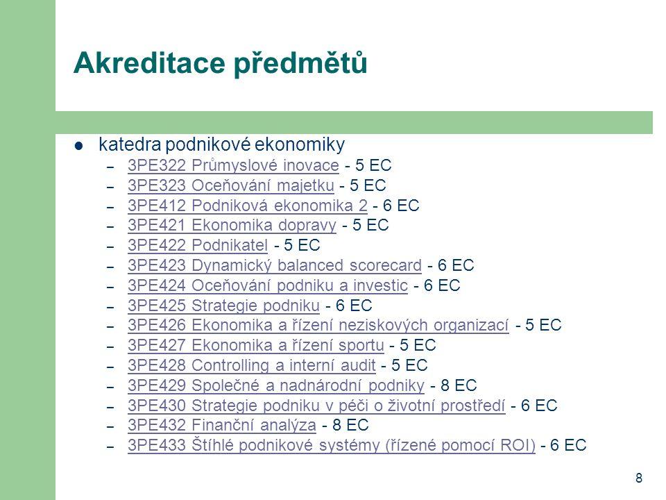 8 Akreditace předmětů katedra podnikové ekonomiky – 3PE322 Průmyslové inovace - 5 EC 3PE322 Průmyslové inovace – 3PE323 Oceňování majetku - 5 EC 3PE32