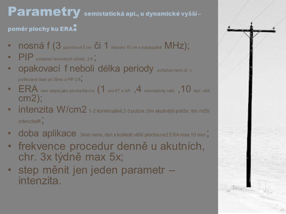 Parametry semistatická apl., u dynamické vyšší – poměr plochy ku ERA : nosná f (3 povrchově 5 cm či 1 hluboko 15 cm a subaquálně MHz); PIP potlačení t