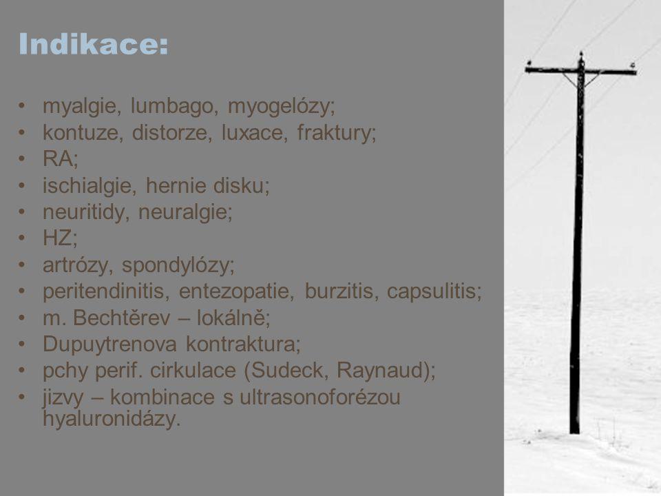 Indikace: myalgie, lumbago, myogelózy; kontuze, distorze, luxace, fraktury; RA; ischialgie, hernie disku; neuritidy, neuralgie; HZ; artrózy, spondylóz