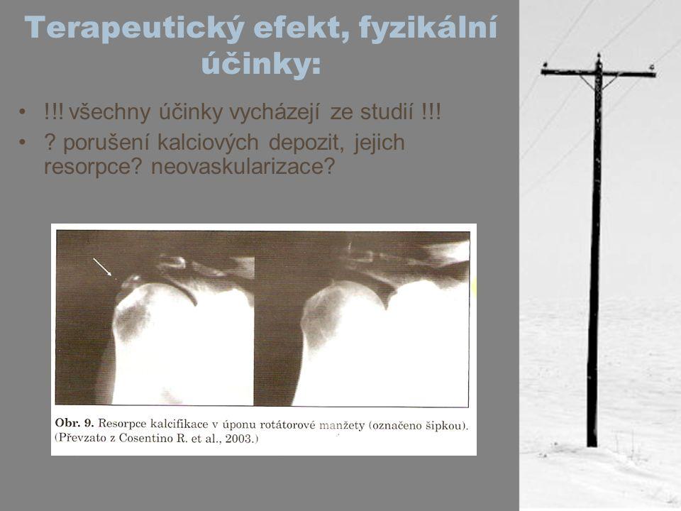 Terapeutický efekt, fyzikální účinky: !!! všechny účinky vycházejí ze studií !!! ? porušení kalciových depozit, jejich resorpce? neovaskularizace?