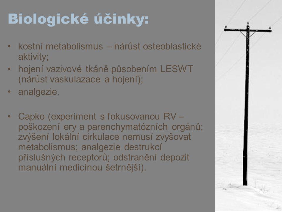 Biologické účinky: kostní metabolismus – nárůst osteoblastické aktivity; hojení vazivové tkáně působením LESWT (nárůst vaskulazace a hojení); analgezi
