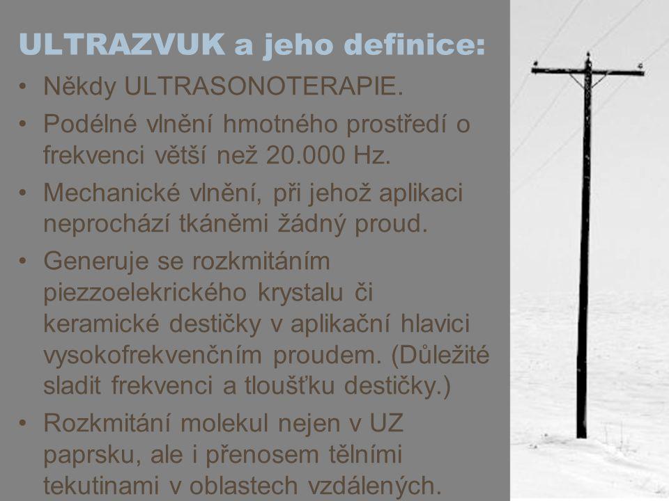 ULTRAZVUK a jeho definice: Někdy ULTRASONOTERAPIE. Podélné vlnění hmotného prostředí o frekvenci větší než 20.000 Hz. Mechanické vlnění, při jehož apl