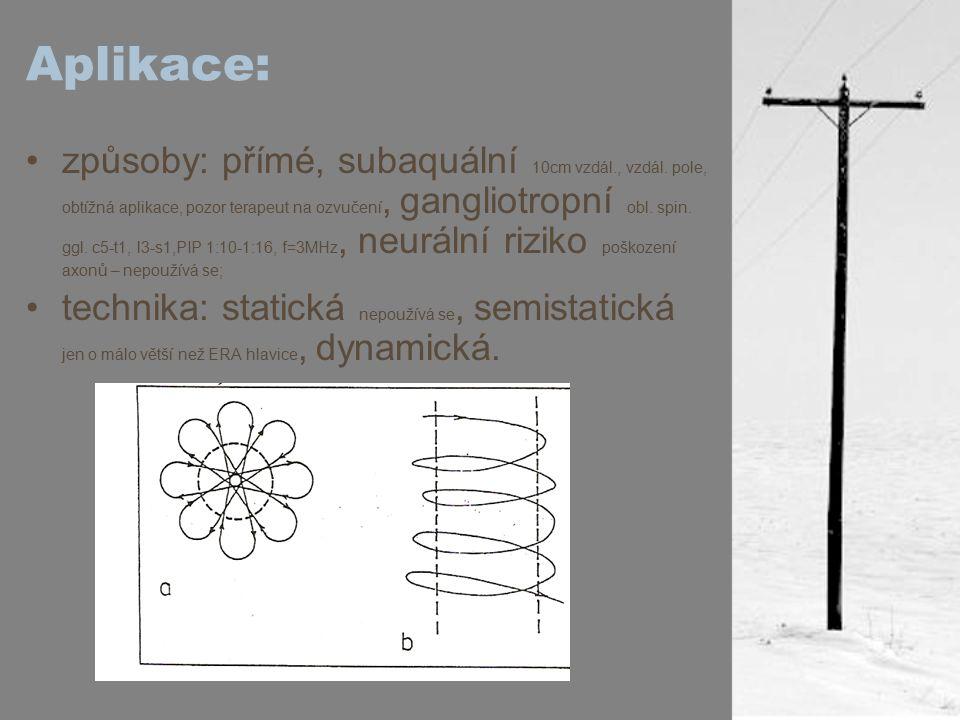 Aplikace: způsoby: přímé, subaquální 10cm vzdál., vzdál. pole, obtížná aplikace, pozor terapeut na ozvučení, gangliotropní obl. spin. ggl. c5-t1, l3-s