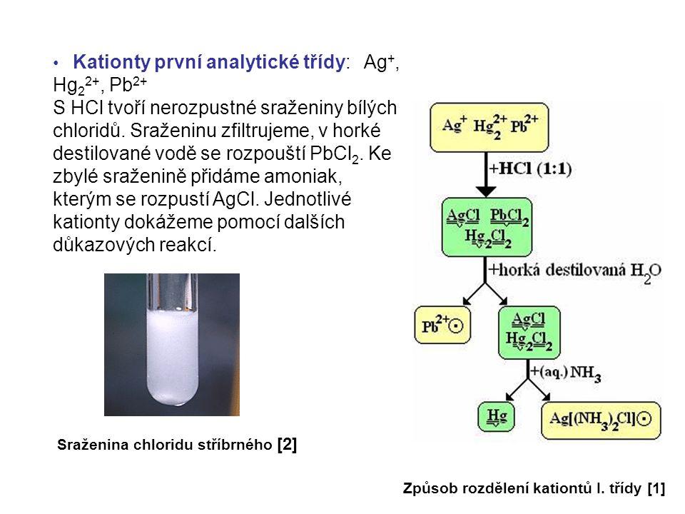 Kationty první analytické třídy: Ag +, Hg 2 2+, Pb 2+ S HCl tvoří nerozpustné sraženiny bílých chloridů. Sraženinu zfiltrujeme, v horké destilované vo