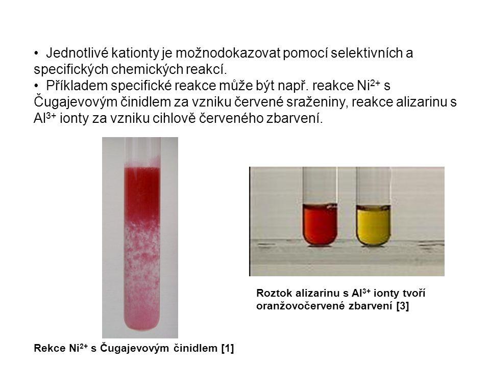 Jednotlivé kationty je možnodokazovat pomocí selektivních a specifických chemických reakcí. Příkladem specifické reakce může být např. reakce Ni 2+ s
