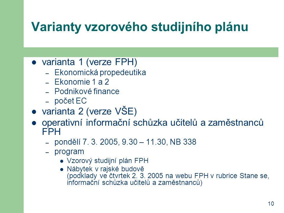 10 Varianty vzorového studijního plánu varianta 1 (verze FPH) – Ekonomická propedeutika – Ekonomie 1 a 2 – Podnikové finance – počet EC varianta 2 (ve