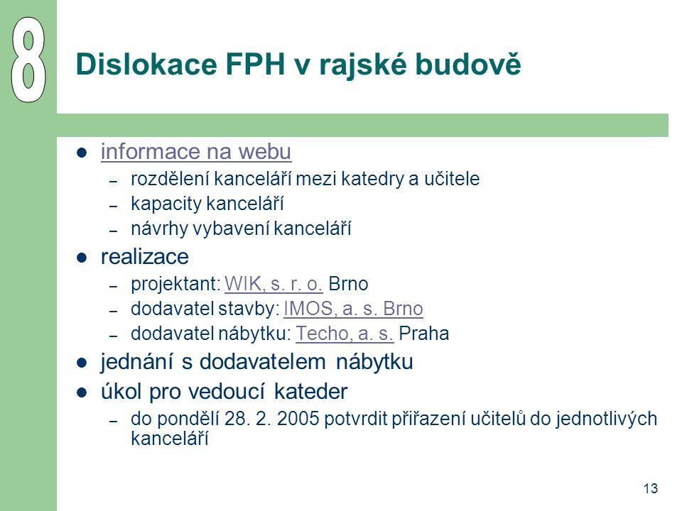 13 Dislokace FPH v rajské budově informace na webu – rozdělení kanceláří mezi katedry a učitele – kapacity kanceláří – návrhy vybavení kanceláří reali
