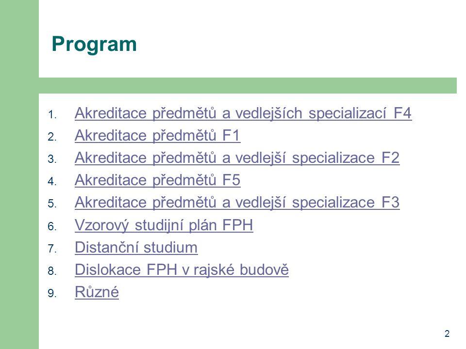 2 Program 1. Akreditace předmětů a vedlejších specializací F4 Akreditace předmětů a vedlejších specializací F4 2. Akreditace předmětů F1 Akreditace př