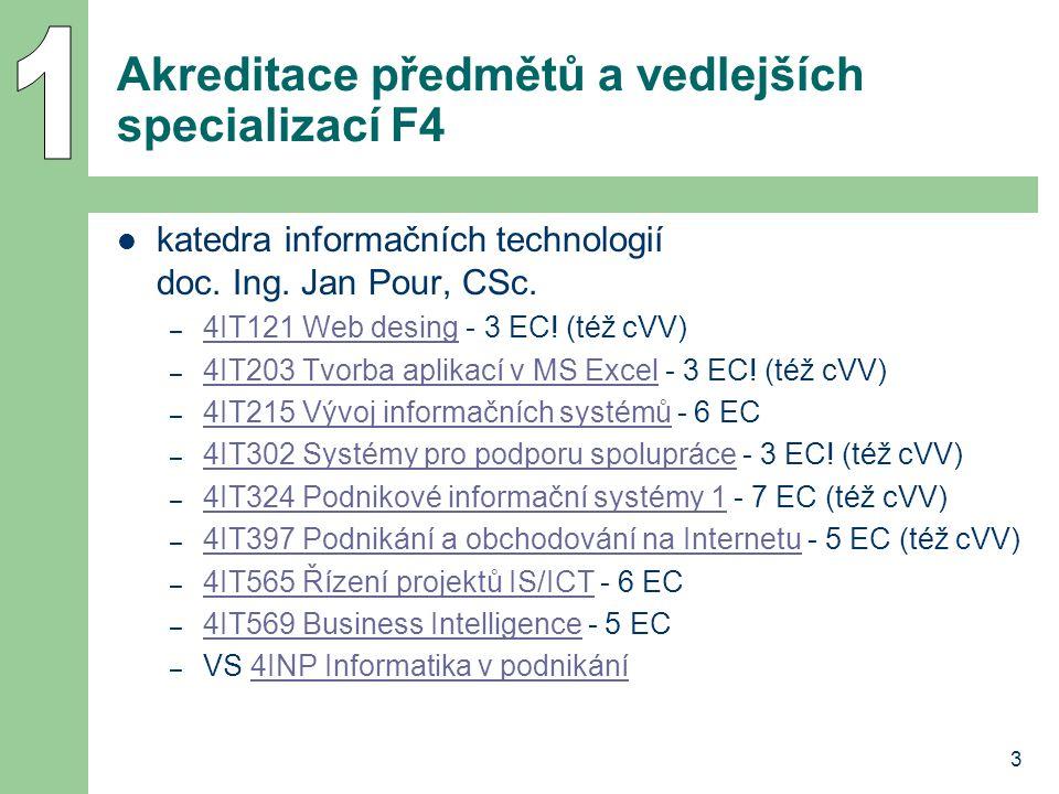 3 Akreditace předmětů a vedlejších specializací F4 katedra informačních technologií doc. Ing. Jan Pour, CSc. – 4IT121 Web desing - 3 EC! (též cVV) 4IT