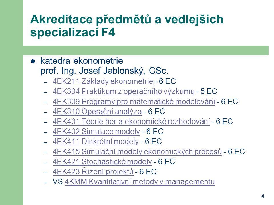 4 Akreditace předmětů a vedlejších specializací F4 katedra ekonometrie prof. Ing. Josef Jablonský, CSc. – 4EK211 Základy ekonometrie - 6 EC 4EK211 Zák