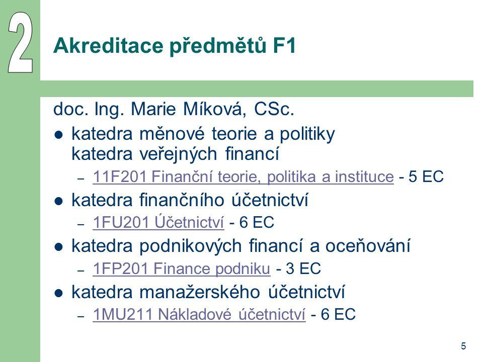 5 Akreditace předmětů F1 doc. Ing. Marie Míková, CSc. katedra měnové teorie a politiky katedra veřejných financí – 11F201 Finanční teorie, politika a