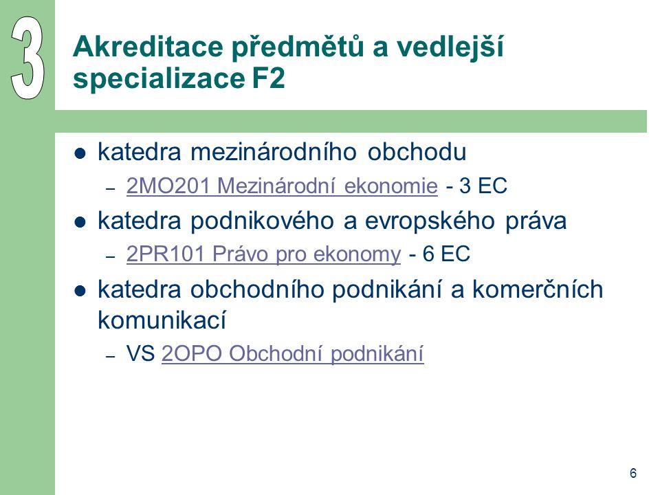 6 Akreditace předmětů a vedlejší specializace F2 katedra mezinárodního obchodu – 2MO201 Mezinárodní ekonomie - 3 EC 2MO201 Mezinárodní ekonomie katedr