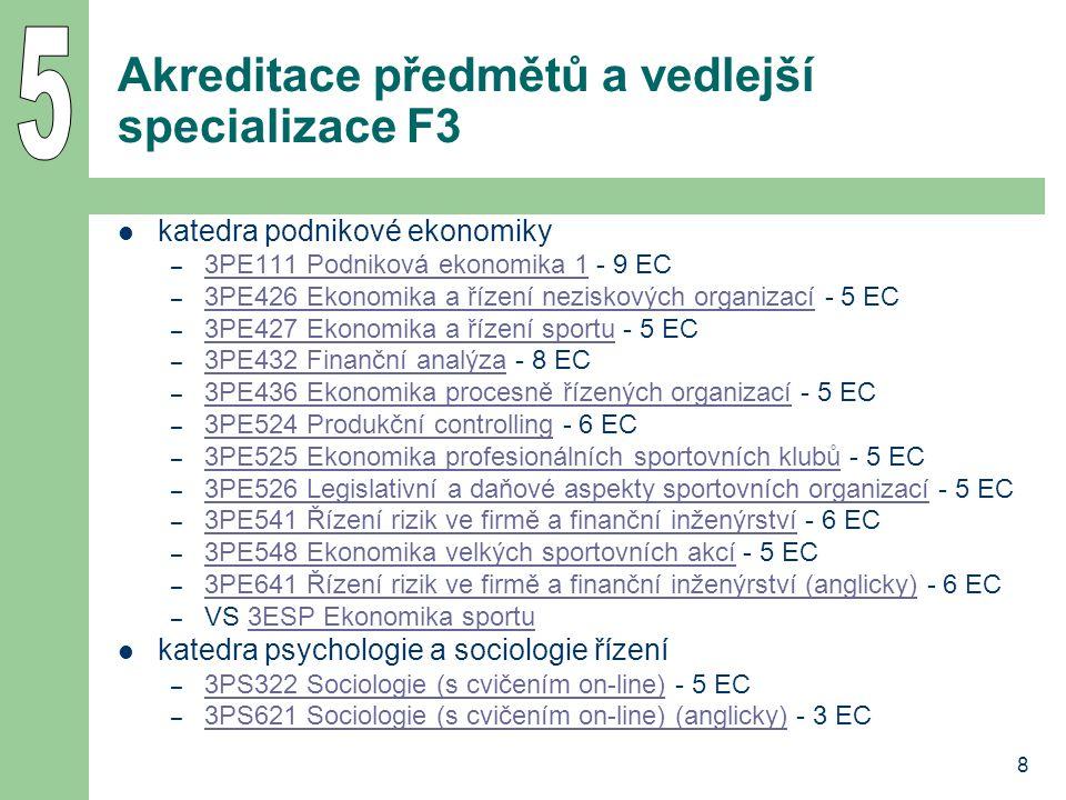 8 Akreditace předmětů a vedlejší specializace F3 katedra podnikové ekonomiky – 3PE111 Podniková ekonomika 1 - 9 EC 3PE111 Podniková ekonomika 1 – 3PE4