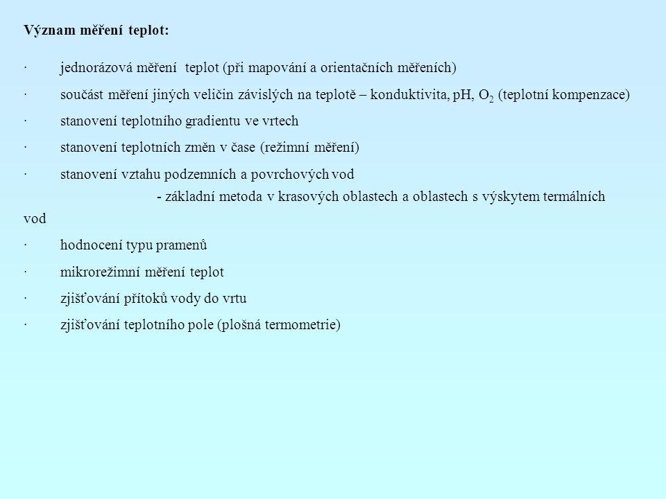 Význam měření teplot: · jednorázová měření teplot (při mapování a orientačních měřeních) · součást měření jiných veličin závislých na teplotě – konduk