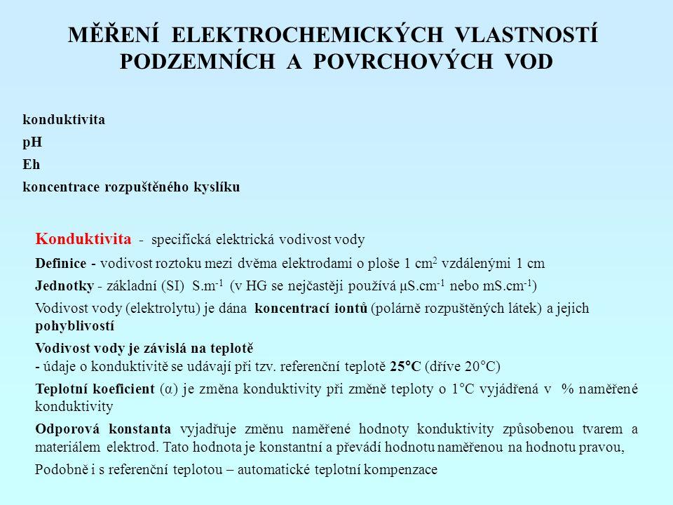 MĚŘENÍ ELEKTROCHEMICKÝCH VLASTNOSTÍ PODZEMNÍCH A POVRCHOVÝCH VOD konduktivita pH Eh koncentrace rozpuštěného kyslíku Konduktivita - specifická elektri