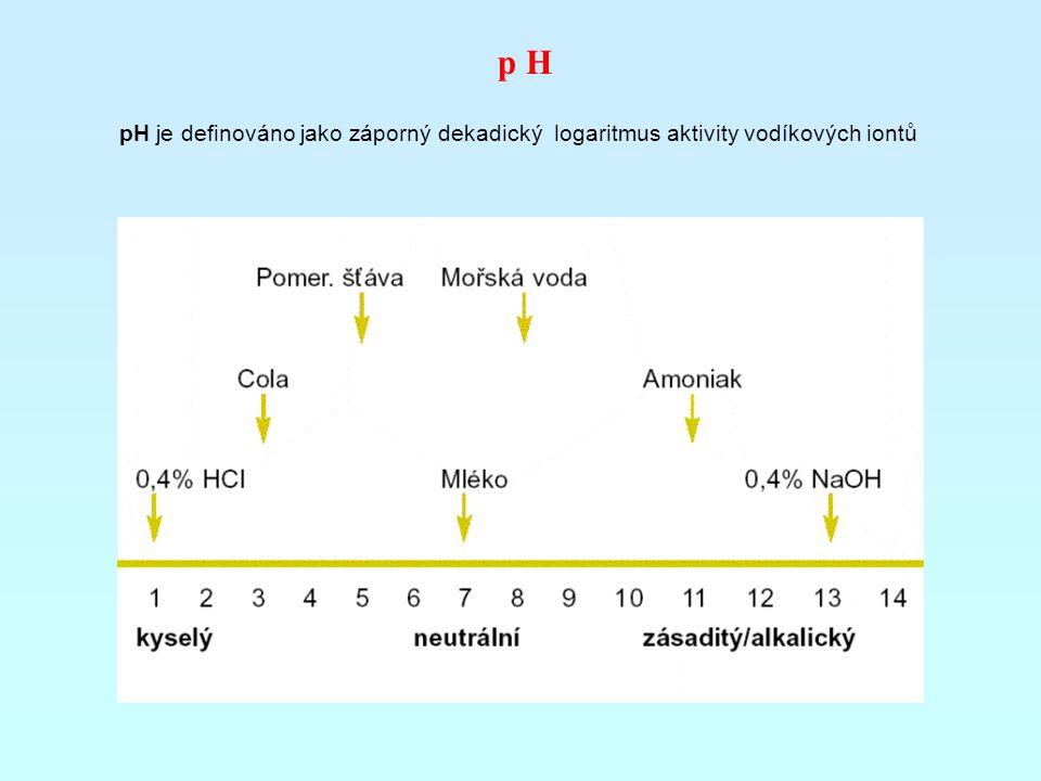 p H pH je definováno jako záporný dekadický logaritmus aktivity vodíkových iontů