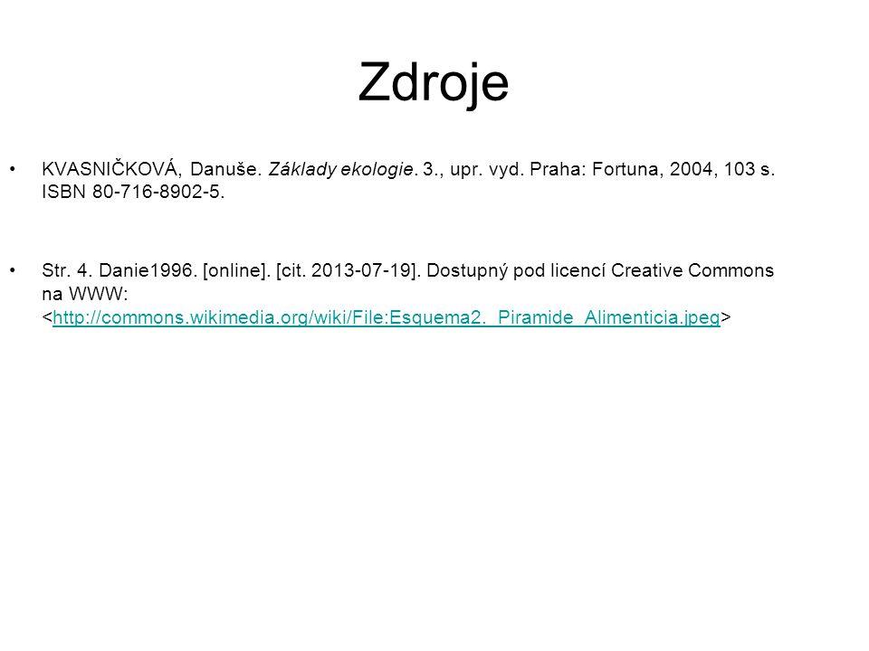 Zdroje KVASNIČKOVÁ, Danuše. Základy ekologie. 3., upr. vyd. Praha: Fortuna, 2004, 103 s. ISBN 80-716-8902-5. Str. 4. Danie1996. [online]. [cit. 2013-0