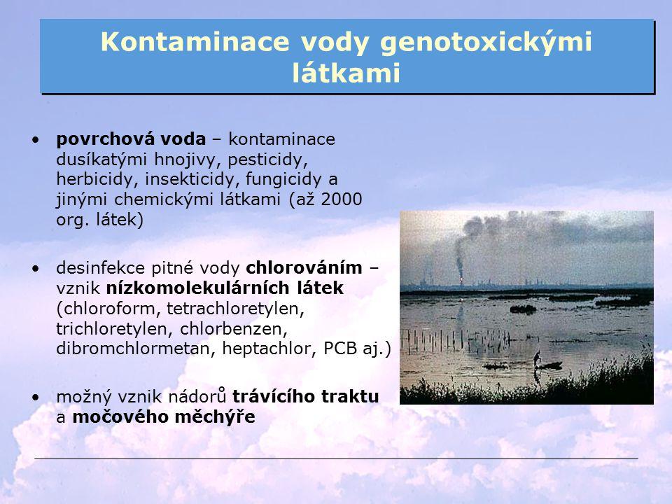 Kontaminace vody genotoxickými látkami povrchová voda – kontaminace dusíkatými hnojivy, pesticidy, herbicidy, insekticidy, fungicidy a jinými chemický