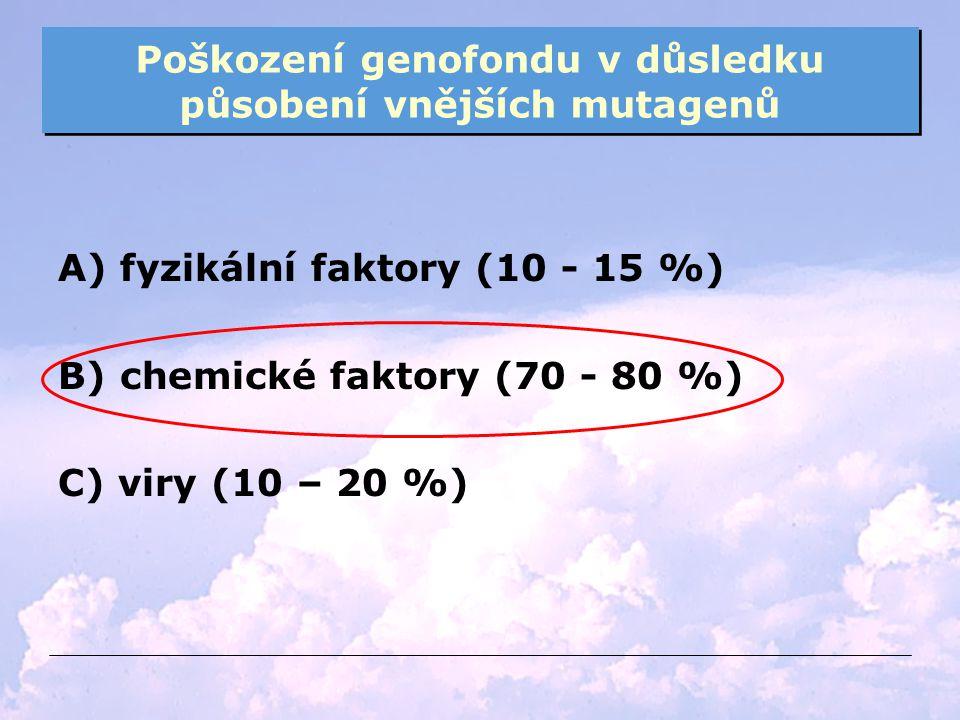 Poškození genofondu v důsledku působení vnějších mutagenů A) fyzikální faktory (10 - 15 %) B) chemické faktory (70 - 80 %) C) viry (10 – 20 %)