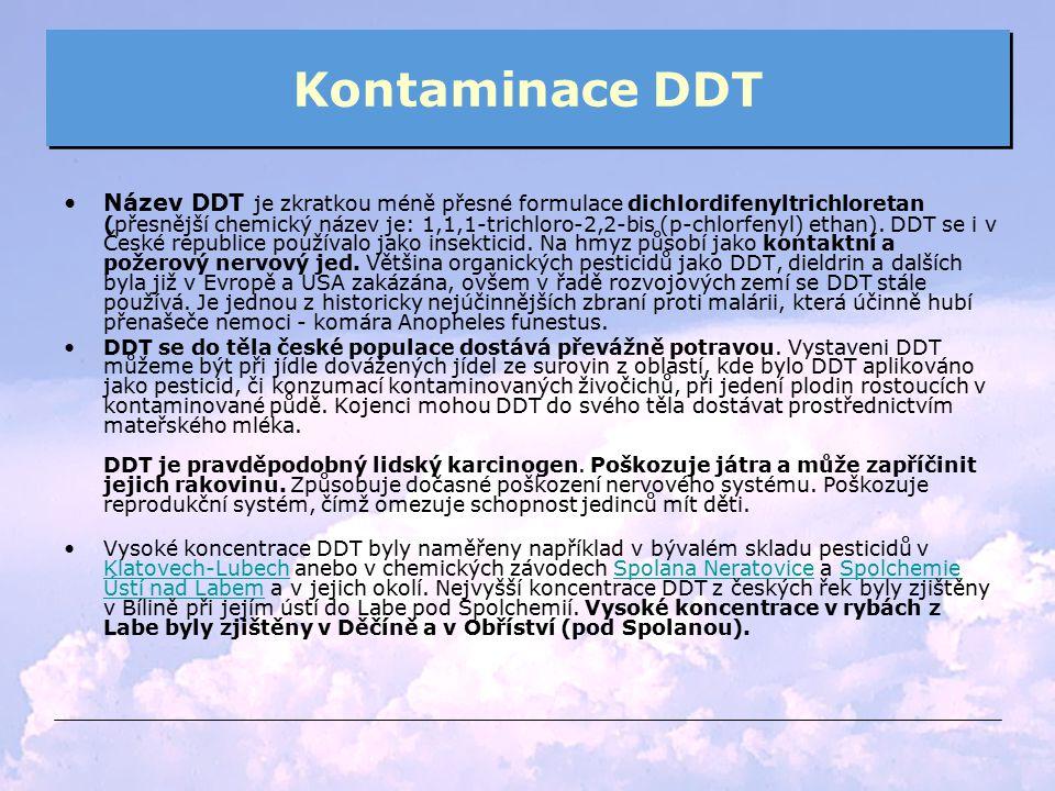 Kontaminace DDT Název DDT je zkratkou méně přesné formulace dichlordifenyltrichloretan (přesnější chemický název je: 1,1,1-trichloro-2,2-bis (p-chlorf