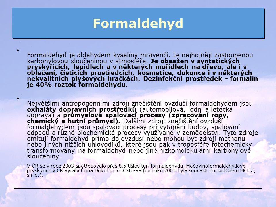 Formaldehyd Formaldehyd je aldehydem kyseliny mravenčí. Je nejhojněji zastoupenou karbonylovou sloučeninou v atmosféře. Je obsažen v syntetických prys