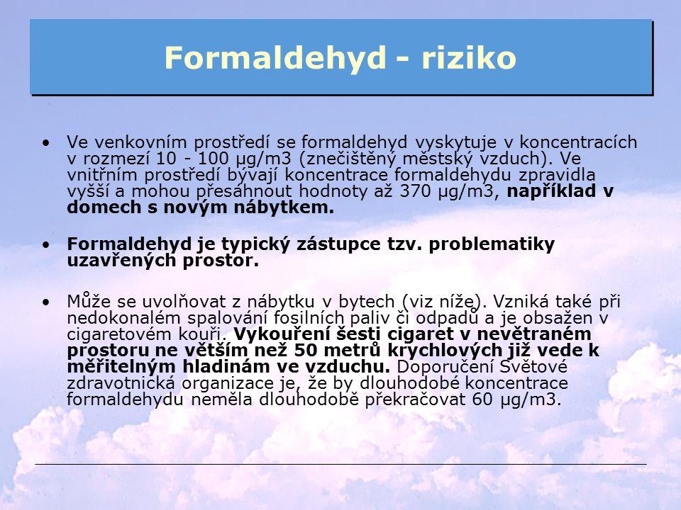 Formaldehyd - riziko Ve venkovním prostředí se formaldehyd vyskytuje v koncentracích v rozmezí 10 - 100 µg/m3 (znečištěný městský vzduch). Ve vnitřním
