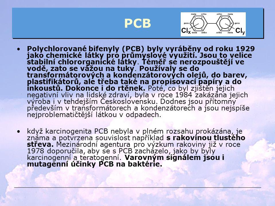 PCB Polychlorované bifenyly (PCB) byly vyráběny od roku 1929 jako chemické látky pro průmyslové využití. Jsou to velice stabilní chlororganické látky.