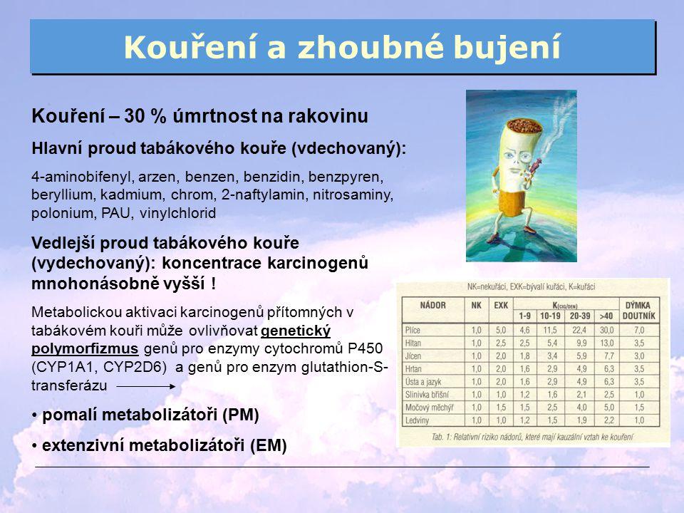 Kouření a zhoubné bujení Kouření – 30 % úmrtnost na rakovinu Hlavní proud tabákového kouře (vdechovaný): 4-aminobifenyl, arzen, benzen, benzidin, benz