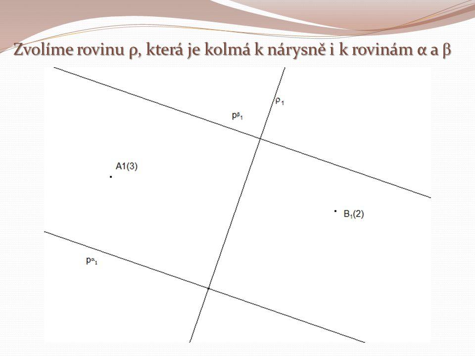 Zvolíme rovinu ρ, která je kolmá k nárysně i k rovinám α a β