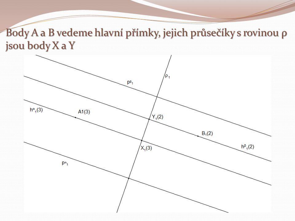 Body A a B vedeme hlavní přímky, jejich průsečíky s rovinou ρ jsou body X a Y