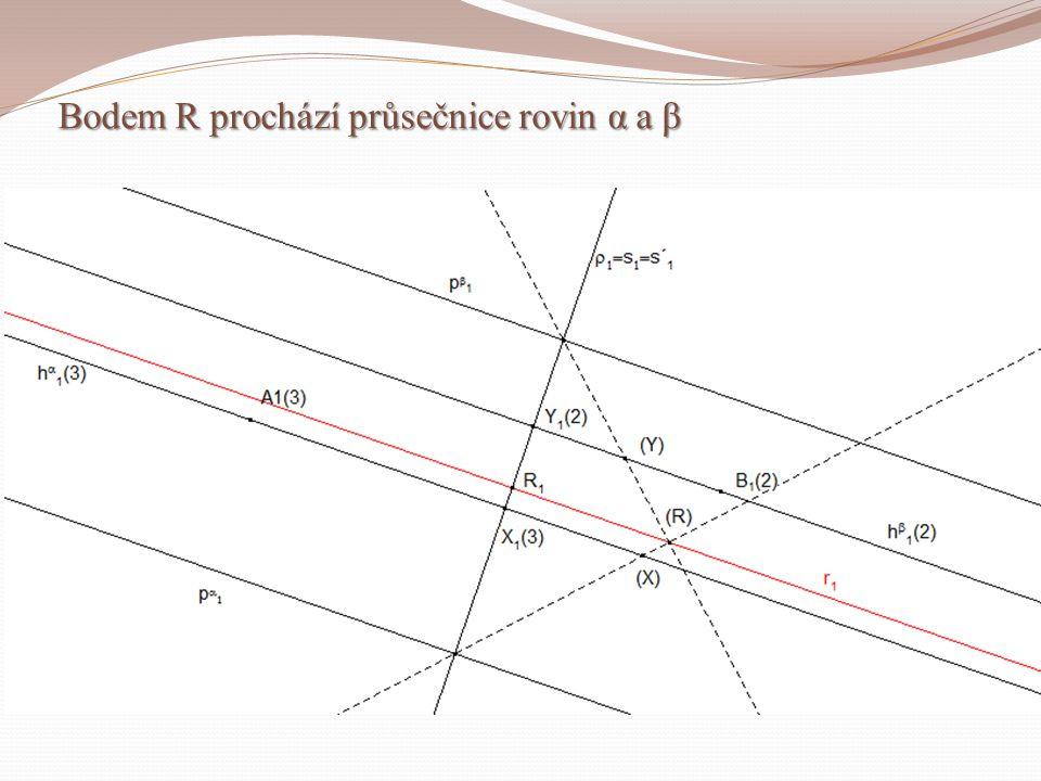 Bodem R prochází průsečnice rovin α a β Bodem R prochází průsečnice rovin α a β