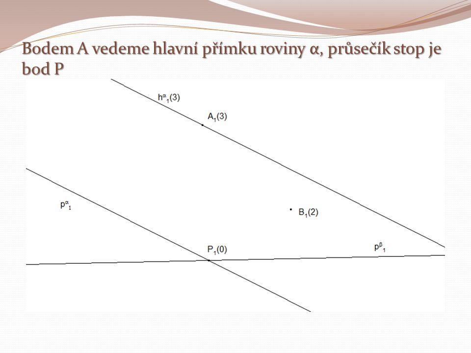 Bodem A vedeme hlavní přímku roviny α, průsečík stop je bod P