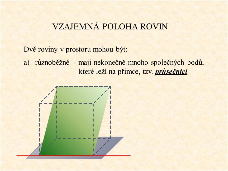 VZÁJEMNÁ POLOHA ROVIN Dvě roviny v prostoru mohou být: a)různoběžné - mají nekonečně mnoho společných bodů, které leží na přímce, tzv.