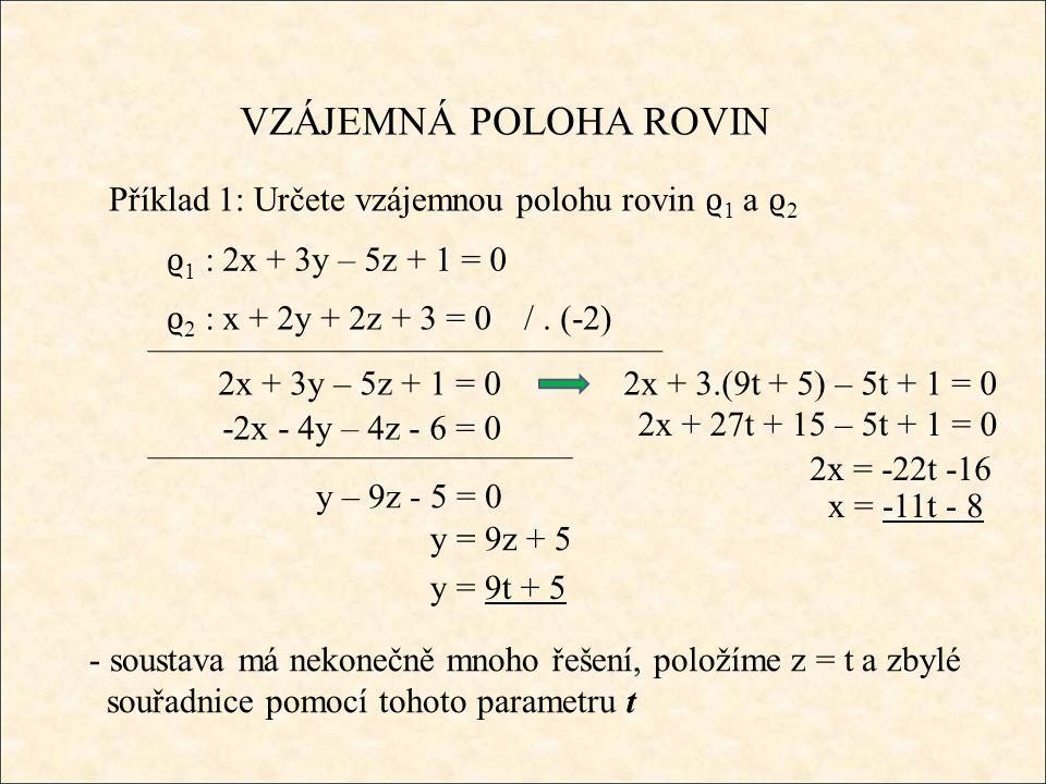 Příklad 1: Určete vzájemnou polohu rovin ϱ 1 a ϱ 2 - soustava má nekonečně mnoho řešení, položíme z = t a zbylé souřadnice pomocí tohoto parametru t ϱ 1 : 2x + 3y – 5z + 1 = 0 /.