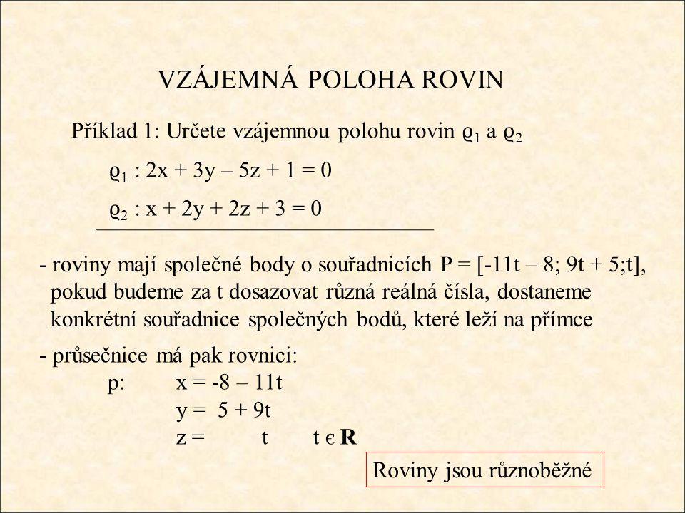 Příklad 1: Určete vzájemnou polohu rovin ϱ 1 a ϱ 2 - roviny mají společné body o souřadnicích P = [-11t – 8; 9t + 5;t], pokud budeme za t dosazovat různá reálná čísla, dostaneme konkrétní souřadnice společných bodů, které leží na přímce ϱ 1 : 2x + 3y – 5z + 1 = 0 VZÁJEMNÁ POLOHA ROVIN ϱ 2 : x + 2y + 2z + 3 = 0 - průsečnice má pak rovnici: p:x = -8 – 11t y = 5 + 9t z = tt є R Roviny jsou různoběžné