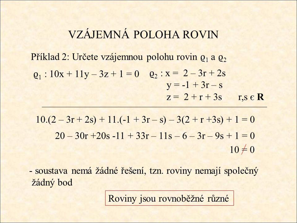 Příklad 2: Určete vzájemnou polohu rovin ϱ 1 a ϱ 2 - soustava nemá žádné řešení, tzn.
