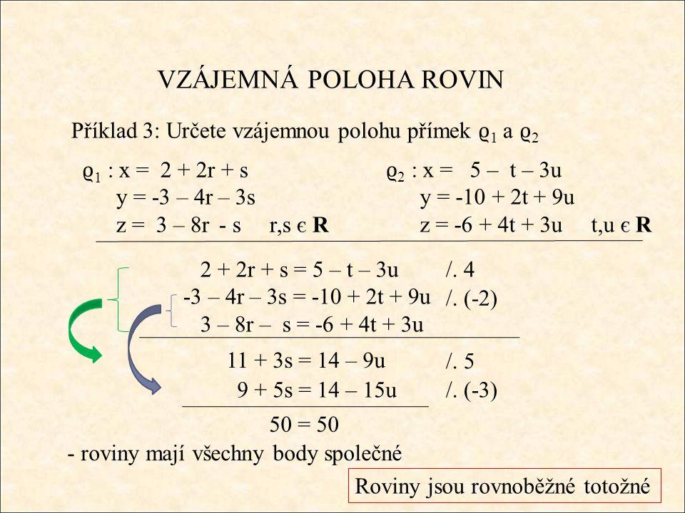 VZÁJEMNÁ POLOHA ROVIN Příklad 3: Určete vzájemnou polohu přímek ϱ 1 a ϱ 2 ϱ 2 : x = 5 – t – 3u y = -10 + 2t + 9u z = -6 + 4t + 3ut,u є R ϱ 1 : x = 2 + 2r + s y = -3 – 4r – 3s z = 3 – 8r - s r,s є R 2 + 2r + s = 5 – t – 3u -3 – 4r – 3s = -10 + 2t + 9u 3 – 8r – s = -6 + 4t + 3u /.