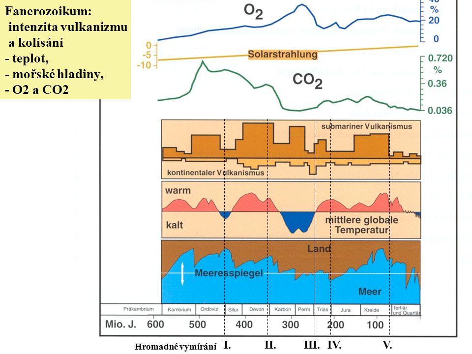Fanerozoikum: intenzita vulkanizmu a kolísání - teplot, - mořské hladiny, - O2 a CO2 I.II.III.IV.V. Hromadné vymírání