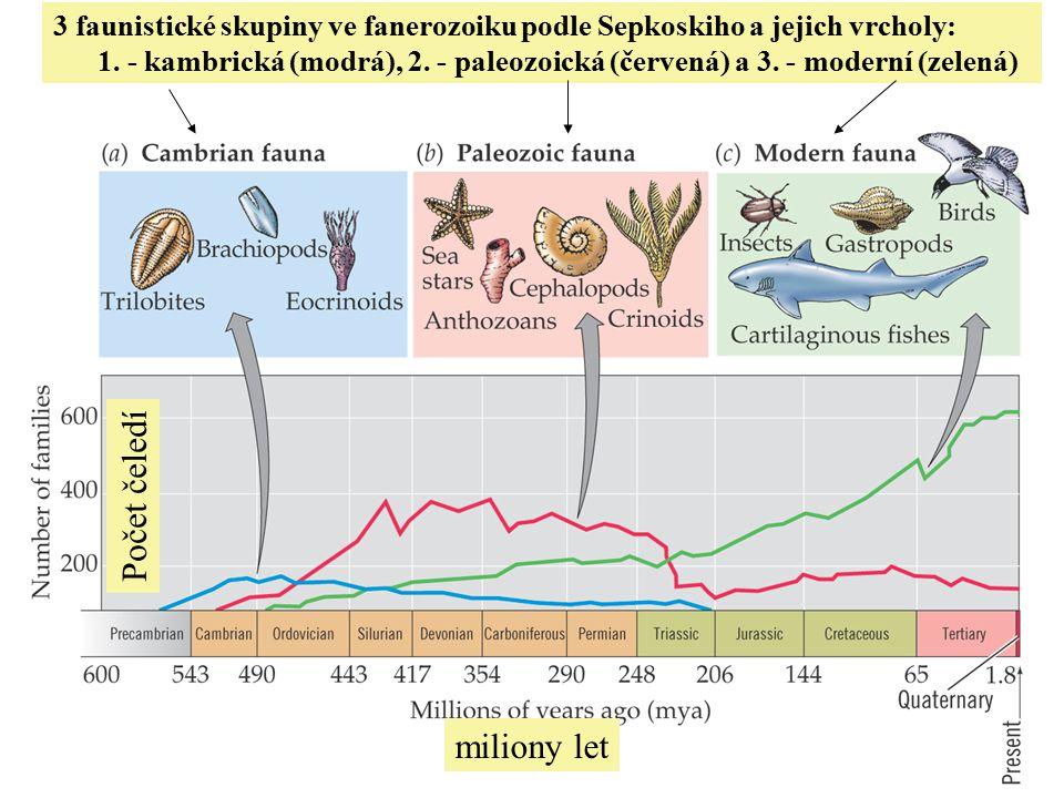 3 faunistické skupiny ve fanerozoiku podle Sepkoskiho a jejich vrcholy: 1.