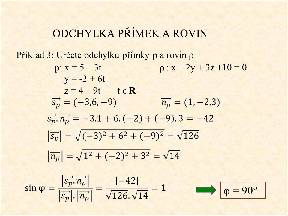 ODCHYLKA PŘÍMEK A ROVIN Příklad 3: Určete odchylku přímky p a rovin ρ φ = 90° ρ : x – 2y + 3z +10 = 0p: x = 5 – 3t y = -2 + 6t z = 4 – 9t t є R