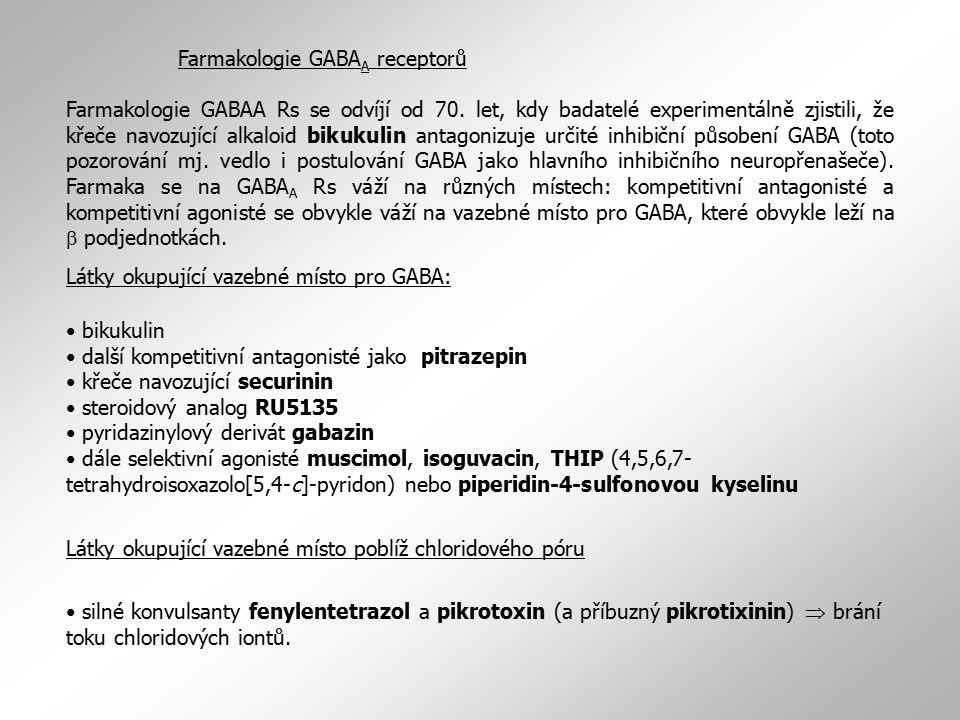 Farmakologie GABA A receptorů Farmakologie GABAA Rs se odvíjí od 70. let, kdy badatelé experimentálně zjistili, že křeče navozující alkaloid bikukulin