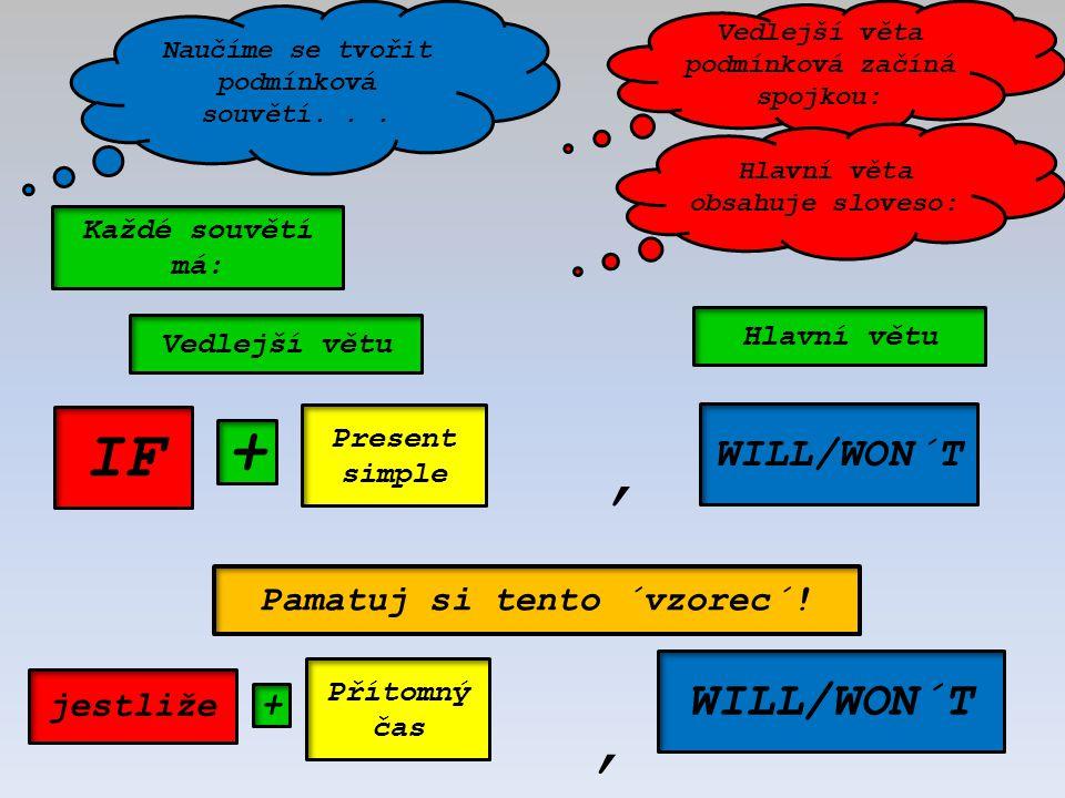 Naučíme se tvořit podmínková souvětí... IF jestliže Present simple Přítomný čas WILL/WON´T +, Vedlejší větu Hlavní větu, Vedlejší věta podmínková začí