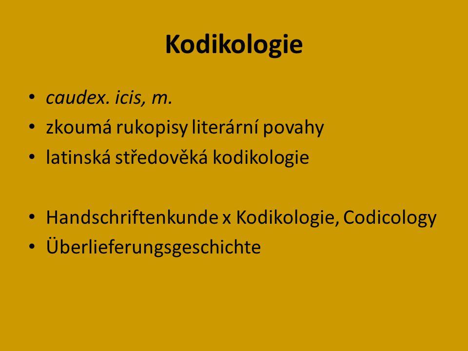 Kodikologie caudex.icis, m.