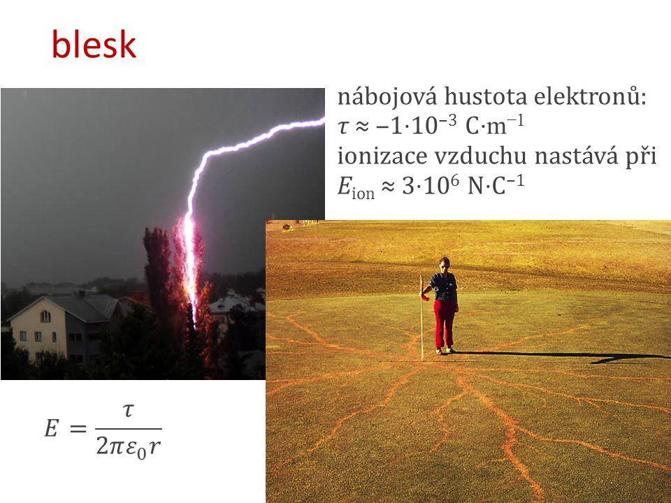 blesk nábojová hustota elektronů: τ ≈ ‒1⋅10 −3 C ⋅ m −1 ionizace vzduchu nastává při E ion ≈ 3⋅10 6 N⋅C −1