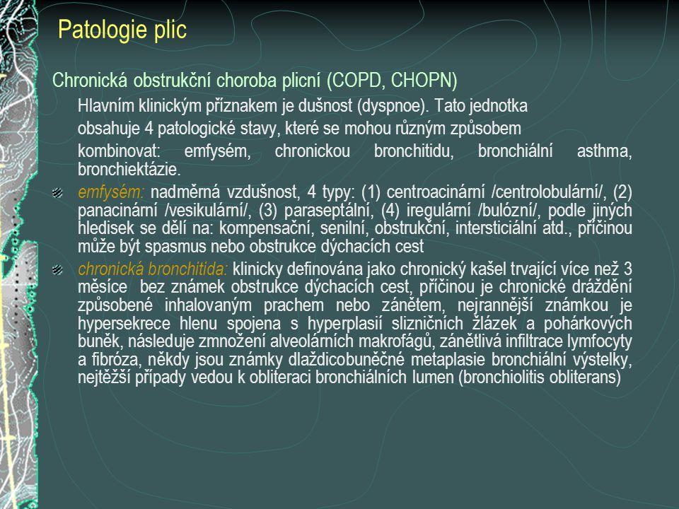 Chronická obstrukční choroba plicní (COPD, CHOPN) Hlavním klinickým příznakem je dušnost (dyspnoe). Tato jednotka obsahuje 4 patologické stavy, které